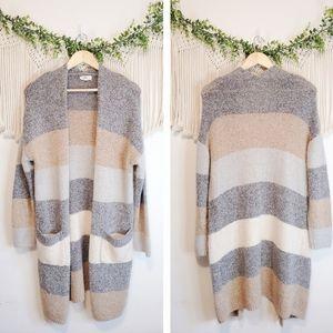 ENTRO Boutique Colorblock Neutral Long Sleeve Open Front Sweater Cardigan sz S